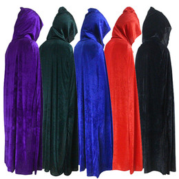 Wholesale cloak for sale – halloween Hooded Cloak Long Velvet Cape for Christmas Halloween Cosplay Costumes for Men and Womens