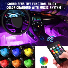 $enCountryForm.capitalKeyWord Australia - HLXG 4X car LED Strip Lights Tube Remote Control Decoration Atmosphere Lamp Neon light foot Strips Light RGB Auto Interior