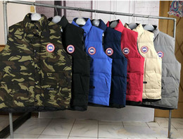 Men cotton vests online shopping - New women men down vest jacket Outdoor thickening warm Canada man outdoor feather vest keep warm and cold coat