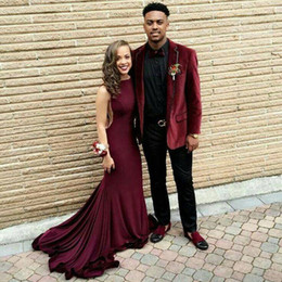 $enCountryForm.capitalKeyWord NZ - Burgundy Velvet Suits for Mens Wedding Groom Tuxedos Terno Masculino Smoking Jacket Homecoming Party 2Piece Slim Fit Costume Homme Mariage