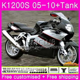 fairing bmw k Australia - Body+Tank For BMW K1200 S K 1200 S K1200S 05 06 07 08 09 10 Kit Glossy Black 30HM.16 K-1200S K 1200S 2005 2006 2007 2008 2009 2010 Fairing