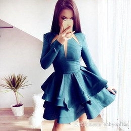simple long dresses for prom sleeves 2021 - Simple Layer Ruffles Aqua Short Cocktail Dresses Jewel Neck Long Sleeve Mini Modest Prom Dress A Line Homecoming Dress For Teens
