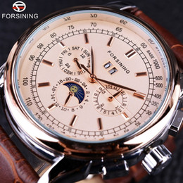 Luxury Brown Leather Watch Australia - Forsining Moon Phase Shanghai Movement Rose Gold Case Brown Leather Strap Men Watch Top Luxury Dress Self Wind Date Automatic Watches