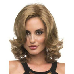 Blonde Short Hair Wig UK - Popular Women Short Blonde Wig Big Wave Synthetic Kanekalon Heat Resistant Cosplay Party Hair Full Wig Wigs