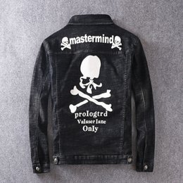 fashion skull jackets NZ - Mens 2020 Luxury Designer Clothes Fashion Brand Print Casual Letter Badge Denim Jacket Biker Jacket Black Skull Coat Mens Designer Jacket