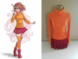 costume cosplay skirt red Canada - Velma Orange Sweater Red Pleated Skirt Outfit cosplay costume