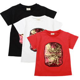 $enCountryForm.capitalKeyWord UK - Kids Designer Clothes Boys Girls Embroidered Gold Iron Superman Anime Short Sleeve Top Cotton Sequin Discoloration Change Face Tees