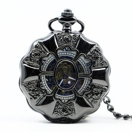 Jewelry & Watches Watches, Parts & Accessories Pocket Watch Mechanical Black Case Magnifier Roman Numerals Chain Luxury Mens