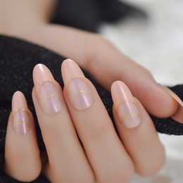 $enCountryForm.capitalKeyWord Australia - Nude Pink French Tips Long Round False Nails Pinkish Gold Glitter Fake Nail Forms For Extension Manicure Art for Finger Deco