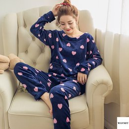 $enCountryForm.capitalKeyWord Australia - Quality High Winter Women Pyjamas Thicken Flannel Pajama Sets Print Thick Warm Love Pijama Girl Nightgown Sleepwear Long Pant