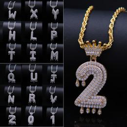 $enCountryForm.capitalKeyWord Australia - 2019 Luxury Diamond Iced Out Necklace Charm Crown English Letter Tassel Pendants Unisex Digital Alphabet Necklaces Men Hip Hop Jewelry M081F