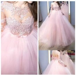 $enCountryForm.capitalKeyWord Australia - 2019 Sheer Long Sleeves Quinceanera Dresses Lace Appliques Prom Dress Sweep Train Lace Up Back Pink Tulle Ball Gown Brush Train
