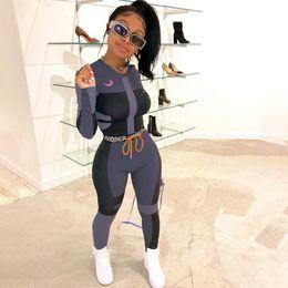 Designer Frauen Fitness Zwei Stücke Set Anzug Langarm Crop Top Letters Print elastische dünne Gamaschen Sport Schlank Outfit im Angebot