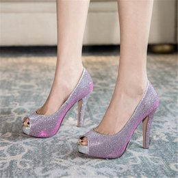 bridal peep toe heels Australia - PXELENA Glitter Bridal Women Wedding Shoes Super High Heels Platform Slip On Lady Pumps Peep Toe Dress Party Evening Gold Silver