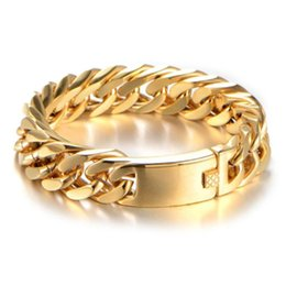 15 17mm Wide Handmade Gold Tone Stainless Steel Double Cuban Curb Chain Bracelet Wristband Men's Jewelry 7-11inch Chrismas Gift on Sale