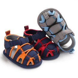 Infant Blocks Australia - Baby's toes protection sandals 3 colors Color Blocking infants summer shoes soft sole first walkers 0-18m
