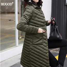 Fiber Slim Australia - Rugod 2018 New Slim Long Winter Coat Women Thin Warm Striped Polyester Fiber Padded Winter Jacket Female Solid Pocket Parkas