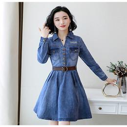 $enCountryForm.capitalKeyWord Australia - Spring autumn New Korean Denim Slim Women Dress Knee-length Embroidery Office Lady OL work Dress Women