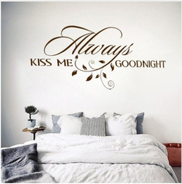 Love Wall Stickers For Bedrooms Australia - Always Kiss Me Goodnight Loving Art Wall Decal Removable Vinyl Quotes Wall Stickers Mural for Bedroom Home Decor