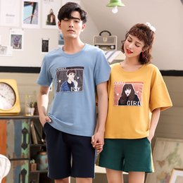 7f47e75a07 JRMISSLI Cute Printing Summer Pyjamas Cotton Couple Pajamas Set Women Lover  Pyjama femme Men's Sleepwear Home Clothing