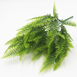 green plastic plant pots UK - Potted Flower Planting Material for Green Planting of Ferns 7-fork Plastic Persian Grass Pteridium W1223
