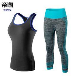 $enCountryForm.capitalKeyWord Australia - Quick Dry Sportswear Gym Leggings Female T shirt Costume Fitness Tights Sport Suit Green Top Yoga Set Women's Workout Tracksuit