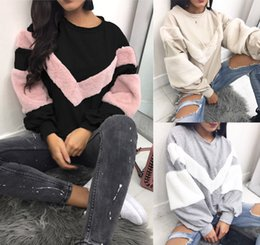 Womens longa Plush Patchwork capuz luva Hoodies O pescoço Pullover Tops Hoodie Oversized Jumper Pullover Top