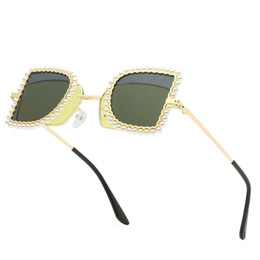 resin lenses sunglasses UK - Brand Best selling fashion pearl flip sunglasses square semi-circular metal frame sunglasses men's women's brand designer double-sided lens
