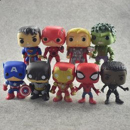 funko pops figures NZ - FUNKO POP DC Justice League & Marvel Avengers Hulk Iron Man Spiderman Logan Model Action Figure Collectible Model Toy For H 9pcs a lots