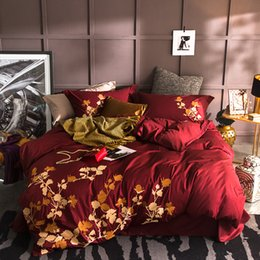 $enCountryForm.capitalKeyWord Australia - Oriental Embroidery 100%Cotton Bedding set King size Queen Bed set Red Purple White bedsheet pillowcase Soft bed duvet cover set