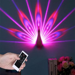 Peacock Lights Australia - Night Light Projector, 7 Color Changing Led Peacock With Smart Touch&remote Control Home Decorative 3d Wall Lamp Q190611