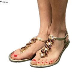 1fe1a2be60f Yifsion Women Flat With Gladiator Sandals Flip Flops Sandals Sexy Rhinestone  Black Gold Beach Shoes Women US Plus Size 5-10.5