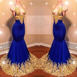 Royal Dresses Trumpet Australia - 2019 Reflective Royal Blue Mermaid Prom Dresses with Gold Lace Appliqued 2019 African Beads Sequins Evening Gowns Women Sexy Party Dress