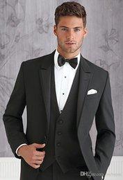$enCountryForm.capitalKeyWord Australia - High Quality Black Men Suits For Wedding Slim Fit Groomsmen Tuxedos Three Pieces Handsome Wedding Suit (Jacket+Pants+Vest+Bow Tie)