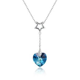 Venta al por mayor de Joyas Antiguas Dama Colgante de Plata Corazón Colgante de Cristal Collar de Piedras Preciosas Azul y Oro de dos colores de Moda Femenina Regalo de La Joyería