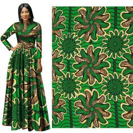 Wholesale Batik Fabric Australia - African Wax Print Fabric binta real Wax Hollandais Fabric Ankara African Batik Breathable Cotton Green flower Fabric for dress suit