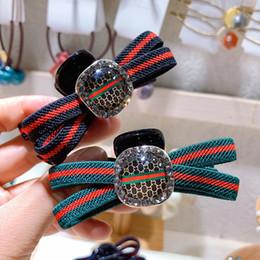 $enCountryForm.capitalKeyWord Australia - Women Red Gree Stripe Designer Letter Hair Claws Bling Bling Rhinestone Hair Clamp Accessories Gift for Love Girlfriend