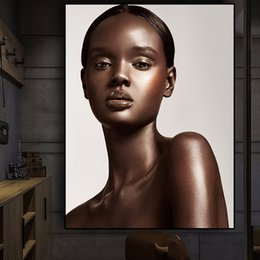 black gold wall art Canada - Black and Gold Nude African Sexy Woman Scandinavian Canvas Painting Posters and Prints Cuadros Wall Art Picture No Framed