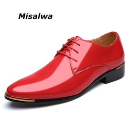 red derby shoes Australia - Misalwa Big Size 38-48 Simple Classic Men Luxury Business Shoes Derby Gentleman Honorable Oxford Mens Shoes Red White Men Flats SH190926