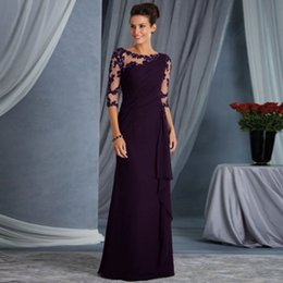 long sleeve maxi dresses Australia - in stock Elegant Lace See-through Formal Dress Fold Long Maxi Dress Perspective Elbow Sleeve Jewel Neck Women Dinner Party Dresses