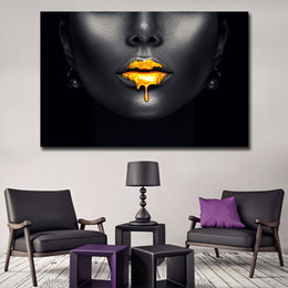 Custom Framed Canvas Prints Australia - 1 Pcs Sexy Lips Canvas Wall Art Pictures Cheap African Paintings For Living Room Wall Decoration Custom Poster and Prints No Frame