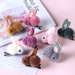 hair clip animals Australia - Korean Cute Girls Plush Rabbits Hair Clip Women Hair Rope Rubber Band Ponytail Holder Hair Accessories 3D Animal Kids