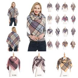 Tassels pashminas online shopping - Plaid Scarves Girls Check Shawl Grid Oversized Tassel Wraps Lattice Triangle Neck Scarf Fringed Pashmina Neckerchief Blankets MMA2394