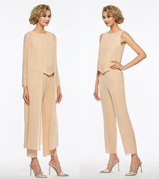 Mothers Bride Dresses Pants Suit Australia - Champagne Chiffon Three Piece Mother Of The Bride Pant Suits With Long Jackets Long Sleeves Beaded Mother Plus Size Wedding Guest Dress