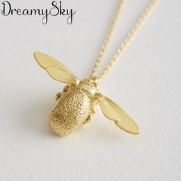 $enCountryForm.capitalKeyWord Australia - Simple 925 Sterling Silver Bee Necklaces For Women Long Chains Honeybee Necklaces Statement Jewelry Girls Gift 2019