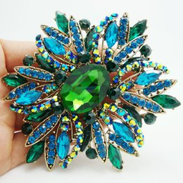 $enCountryForm.capitalKeyWord UK - large brooches New New Fashion Elegant Flower Gold Tone Large Brooch Pin Green Rhinestone Crystal