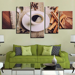 Piece kitchen wall art canvas online shopping - Unframed Canvas HD Prints Posters Home Wall Art Pieces Coffee Beans Paintings Coffee Cup Pictures Kitchen Restaurant Decor