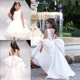 $enCountryForm.capitalKeyWord NZ - Lovely Open Back Big Bow Girl Pageant Gowns White High Low Flower Girl Dresses For Wedding Jewel Sleeveless 2019 Children Communion Dress