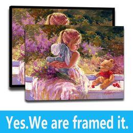 Pooh Cartoon Australia - Kid Room Decor HD Art Print on Canvas The Pooh Sunny Window Eeyore - Frame Ready to hang