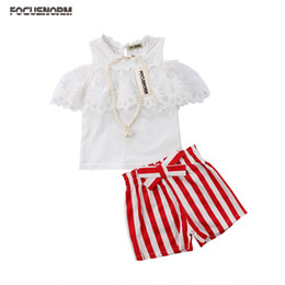 red lace shorts NZ - Princess Fashion Cute Summer 2PCS Sets Toddler Baby Girls Short Petal Sleeve Lace Off Shoulder White Tops Red Striped Bow Shorts